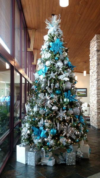 holiday decor blue christmas tree